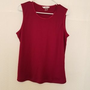 Alia Women - Sleeveless Burgundy Ribbed Blouse 1X